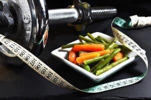 Haltères, mesure, légumes, perte de poids