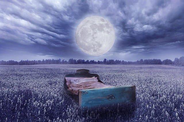 la réalité du rêve - un lit dans un pré, la pleine lune