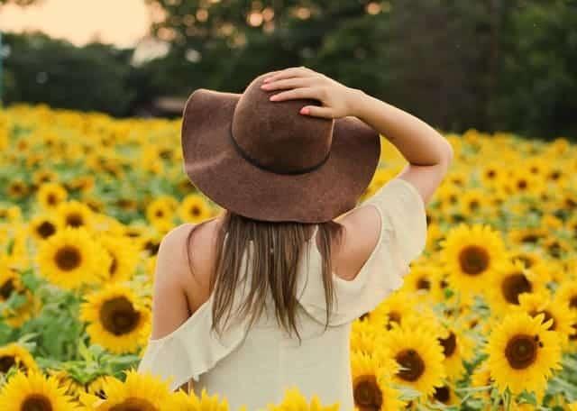une femme marche dans un champ de tournesols